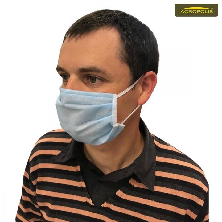 Захисні медичні маски тришарові (83г/м) 100шт.