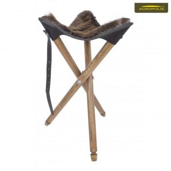 Стул с сиденьем из натурального меха бобра для охотников СТ-1хб