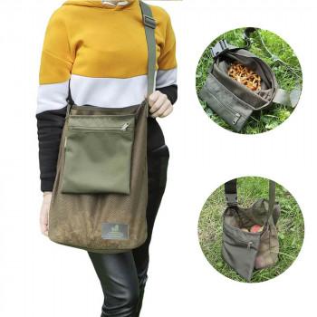 Сумка из сетки (авоська) с карманом и плечевым ремнем для сбора грибов и покупок МГ-1