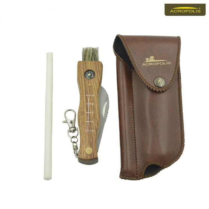 Нож грибника с компасом, точилка и чехол, набор подарочный НГ-3