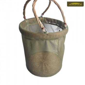Складная корзина (ведро) для грибов из сетки и лозы ВГ-2